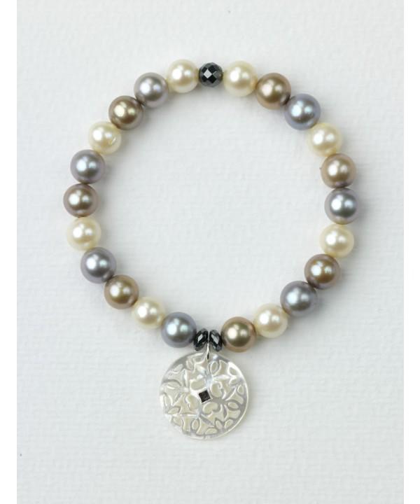 Pulsera de Perlas cultivadas Multicolor y Colgante de Nácar