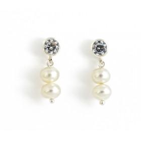 Pendientes Chatón con perlas