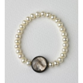 Pulsera de Perlas cultivadas y Mica