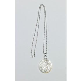 Collar de Nácar Australiano Blanco con cadena de bolas de Plata talladas